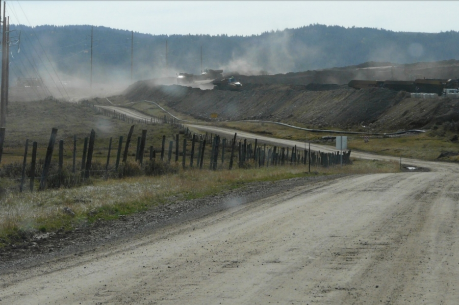 Fugitive Dust from Haul Road at Lanes Creek Mine.