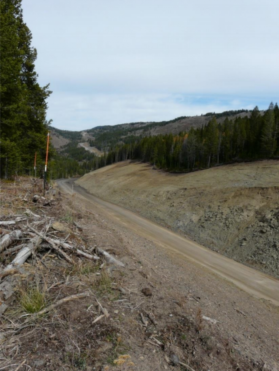 Example – Smoky Canyon haul road across ridges with deep cut Fall, 2016