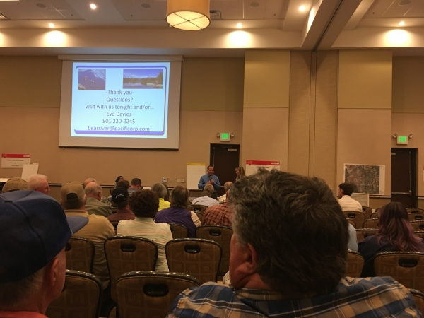 Public meeting by Rocky Mountain Power about developing the Bear River and raising Cutler Dam in Cache County. Preventing unnecessary development of the Bear River is of the utmost importance to Y2U and its partner organizations.||||