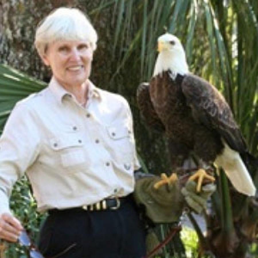 Susan with rehabilitating Bald Eagle.
